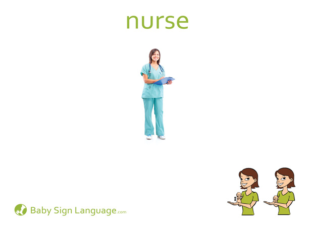 Nurse Baby Sign Language Flash card