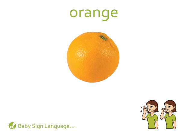 Orange Baby Sign Language Flash card