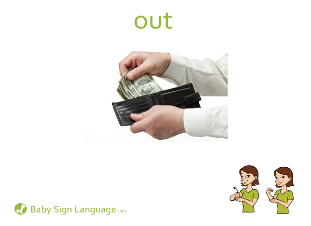 Out Baby Sign Language Flash card