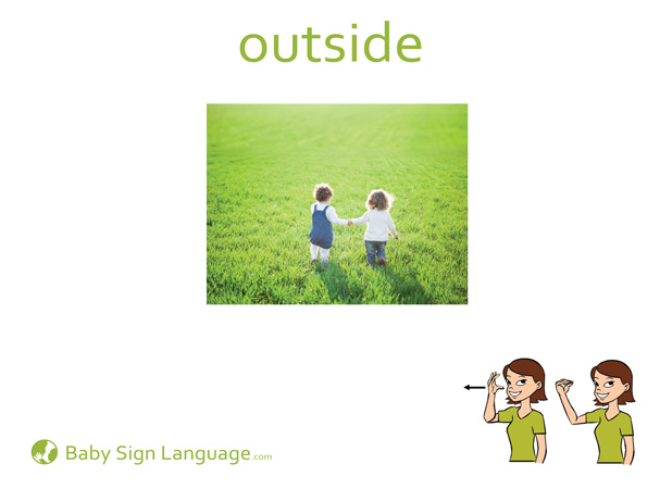 Outside Baby Sign Language Flash card
