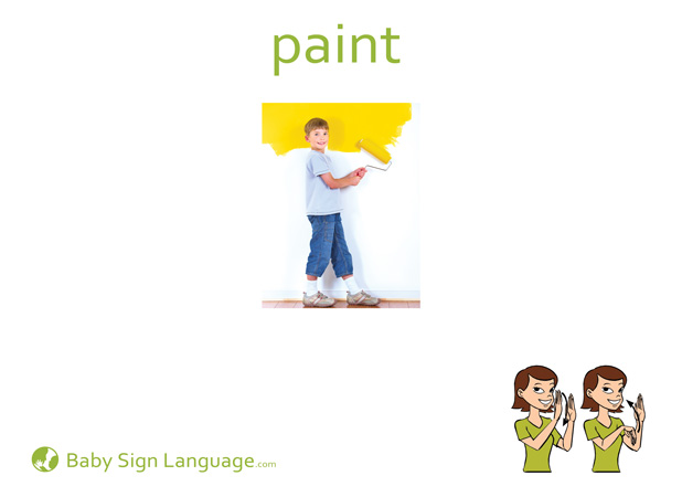 Paint Baby Sign Language Flash card