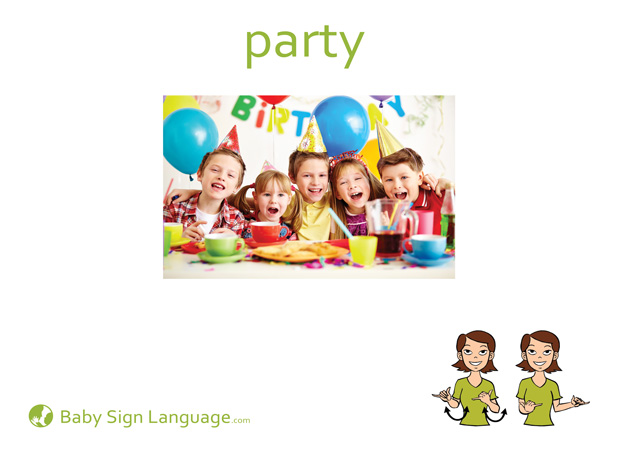 Party Baby Sign Language Flash card
