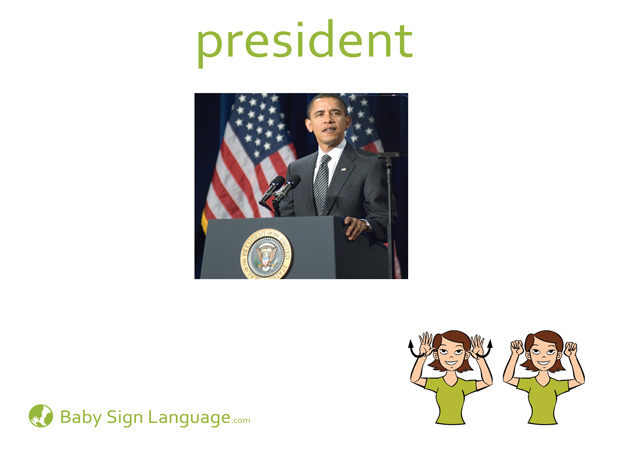 President Baby Sign Language Flash card