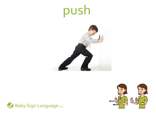 Push Baby Sign Language Flash card