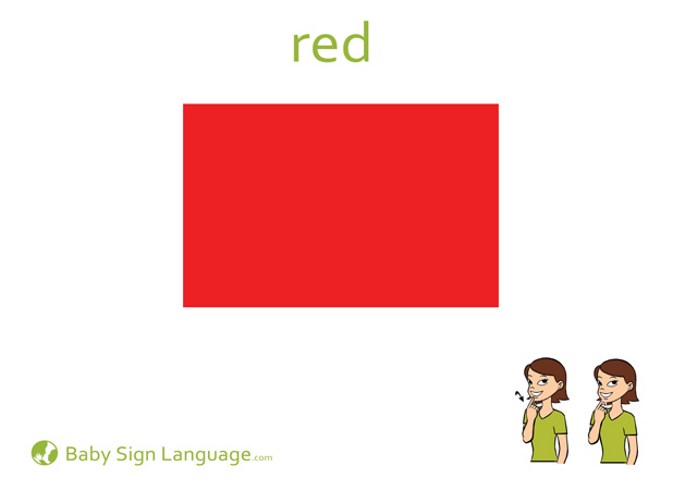 Red Baby Sign Language Flash card