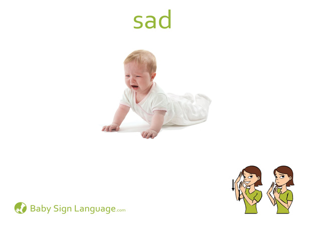 Sad Baby Sign Language Flash card