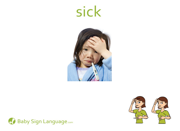 Sick Baby Sign Language Flash card