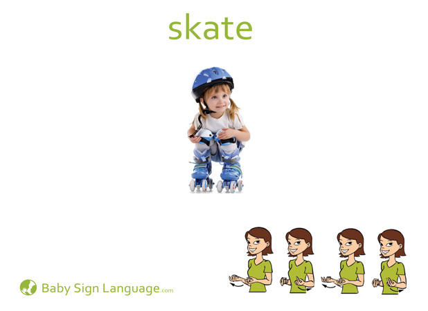 Skate Baby Sign Language Flash card