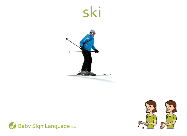 Ski Baby Sign Language Flash card