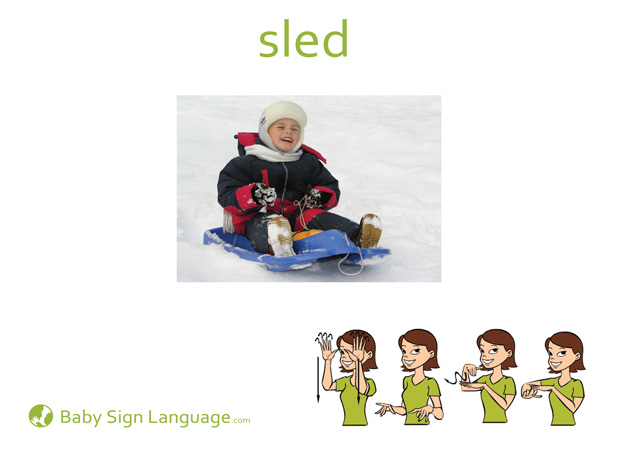 Sled Baby Sign Language Flash card