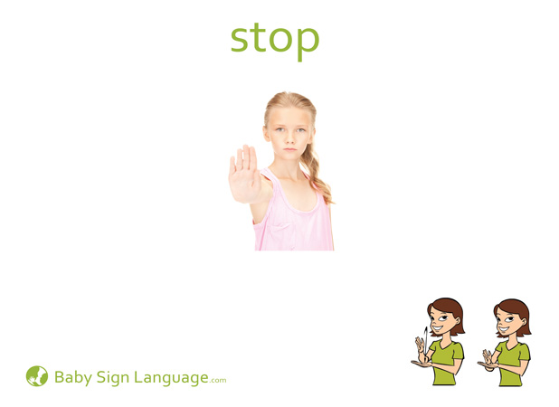 Stop Baby Sign Language Flash card