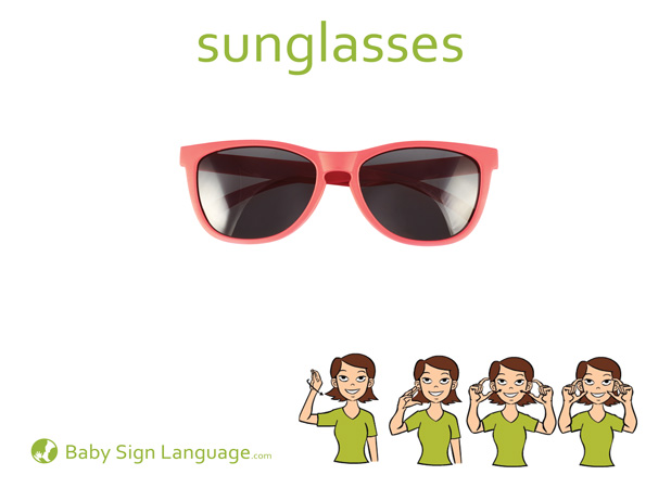 Sunglasses Baby Sign Language Flash card
