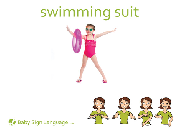 Swimming Suit Baby Sign Language Flash card