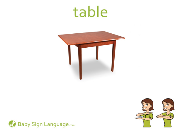 Table Baby Sign Language Flash card