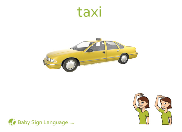 Taxi Baby Sign Language Flash card