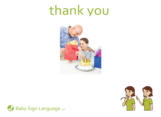Thank You Baby Sign Language Flash card