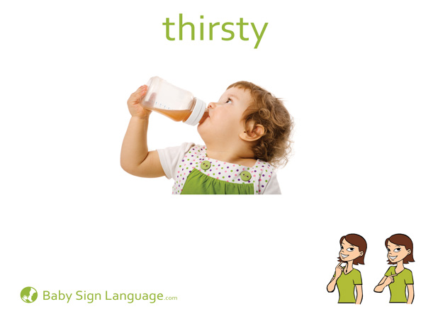 picture regarding Sign Language Flash Cards Printable called Thirsty