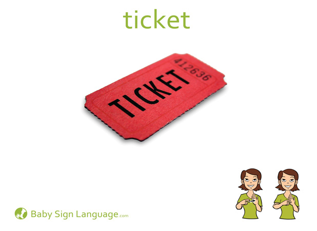 Ticket Baby Sign Language Flash card