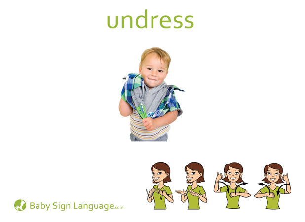 Undress Baby Sign Language Flash card