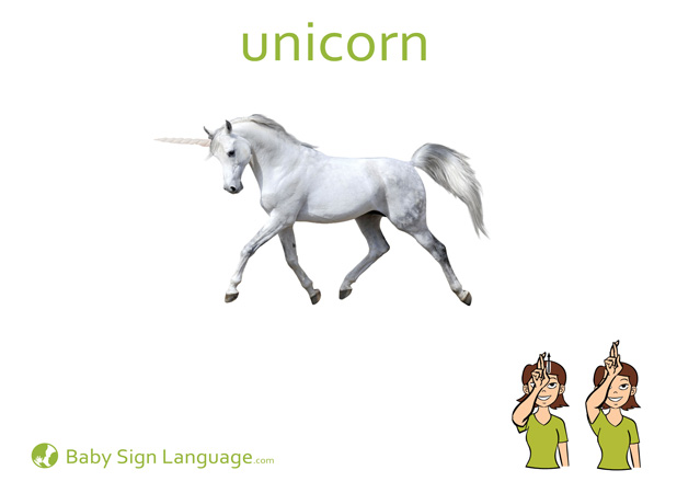 Unicorn Baby Sign Language Flash card