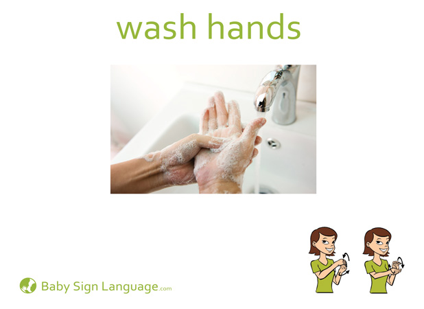 Wash Hands Baby Sign Language Flash card