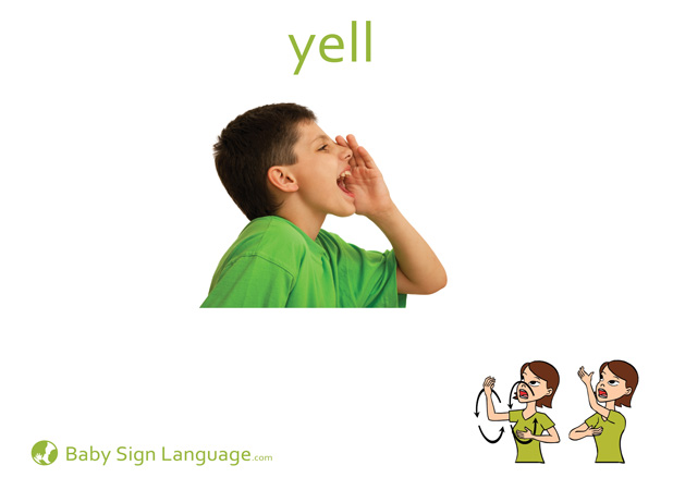 Yell Baby Sign Language Flash card