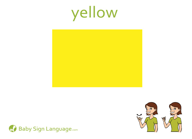 Yellow Baby Sign Language Flash card