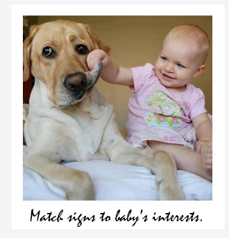 Signs should follow baby's interests