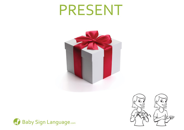 Present Baby Sign Language Flash Card