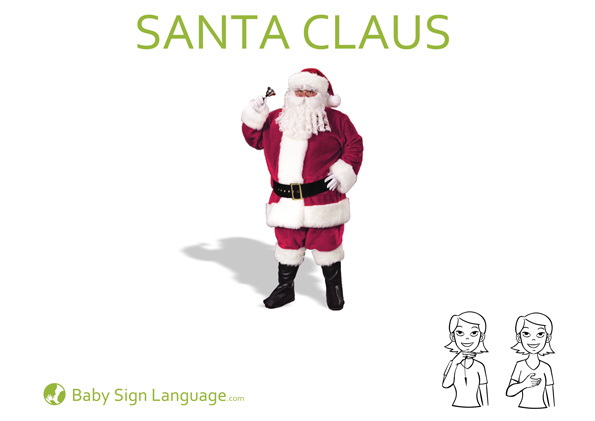 Santa Claus Baby Sign Language Flash Card