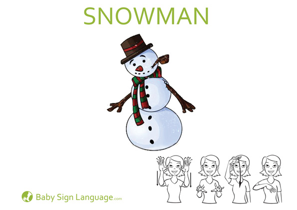 Snowman Baby Sign Language Flash Card