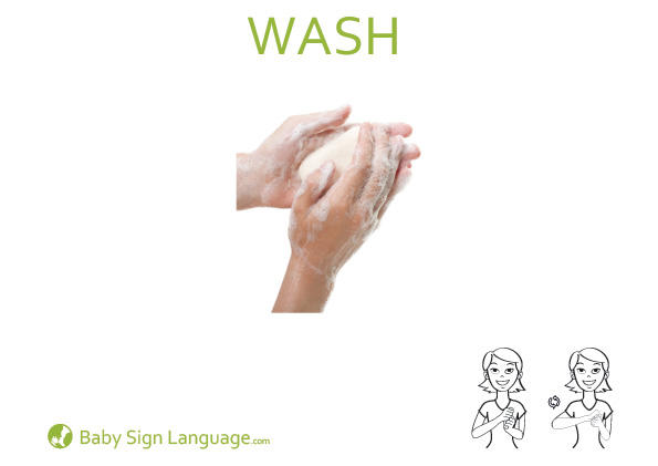 Wash Baby Sign Language Flash card