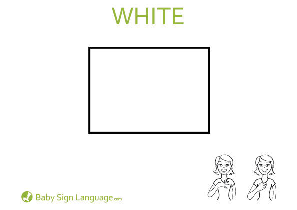 White Baby Sign Language Flash card